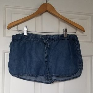 J crew denim elastic waistband shorts